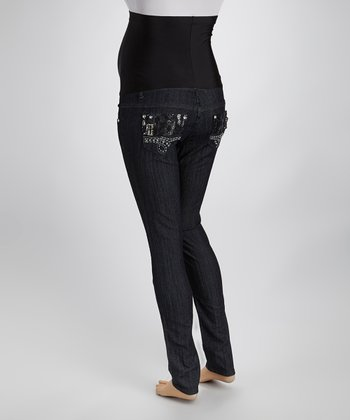 Dark Blue Denim Rhinestone & Lace Over-Belly Maternity Jeans