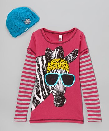 Hot Pink Zebra Layered Tee & Beanie