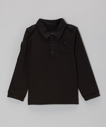 Black Military Polo - Toddler & Boys