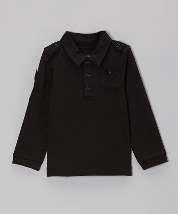 Black Military Polo - Toddler & Boys