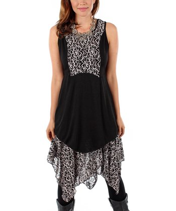 Black Lace-Accent Sleeveless Dress