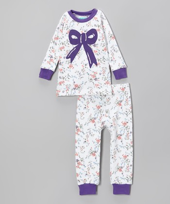 Purple Rose Bow Pajama Set - Infant & Toddler