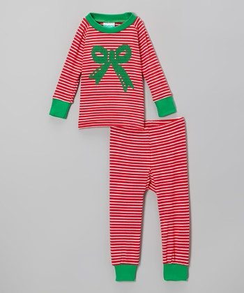 Red Stripe Bow Pajama Set - Infant, Toddler & Girls