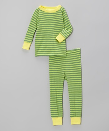 Green Stripe Pajama Set - Infant