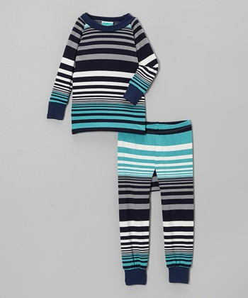 Teal Stripe Pajama Set - Infant & Toddler