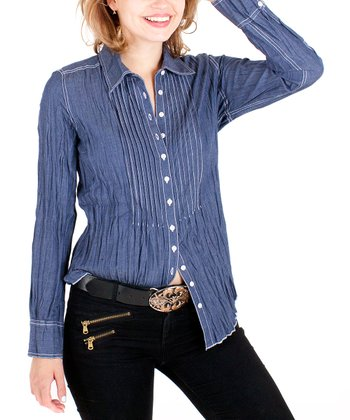 Chambray Pleated Button-Up