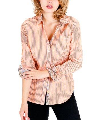 Cino Orange Stripe Button-Up - Women