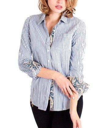 Cino Dusty Blue Stripe Button-Up - Women