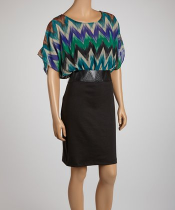 Black & Purple Zigzag Belted Dolman Dress