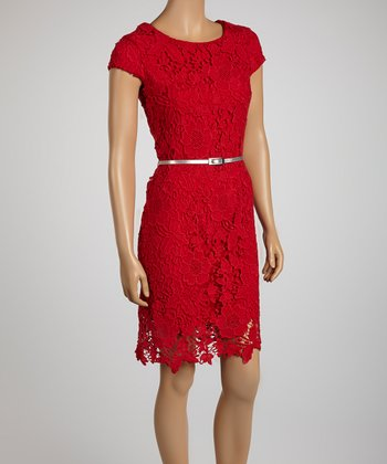 Red Lace Belted Sheath Dress