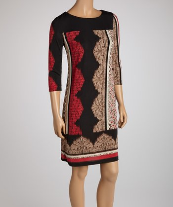 Black & Tan Mosaic Print Shift Dress