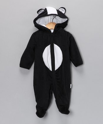 Vitamins Baby Black Skunk Hooded Footie - Infant