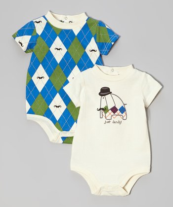 Cream & Blue 'Just Dandy' Bodysuit Set