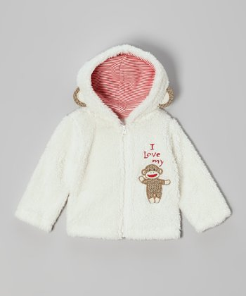White Monkey Sherpa Jacket - Infant