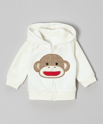 Ivory Monkey Zip-Up Hoodie - Infant