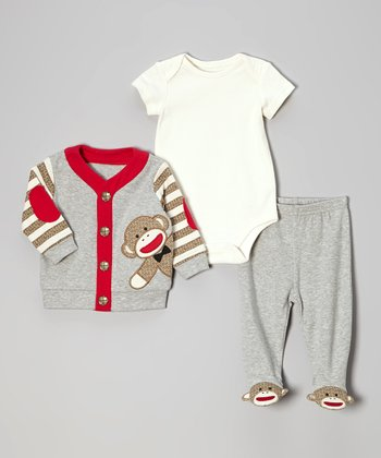 Gray Monkey Take Me Home Bodysuit Set