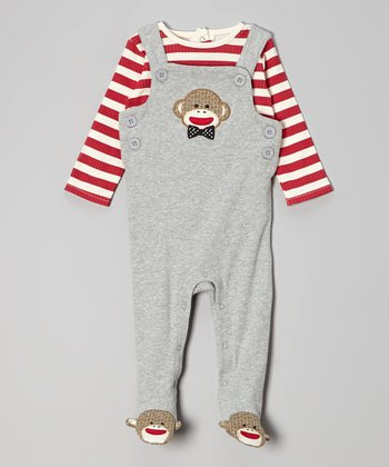 Red Stripe Tee & Gray Footed Overalls - Infant
