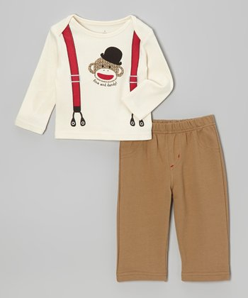White Suspender Moneky Tee & Brown Pants - Infant