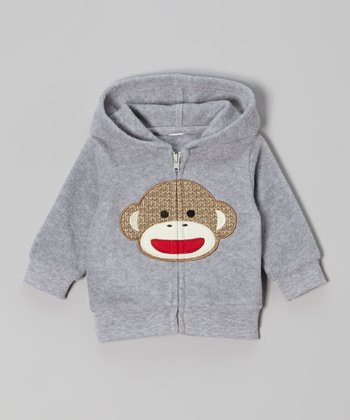 Gray Monkey Zip-Up Hoodie - Infant