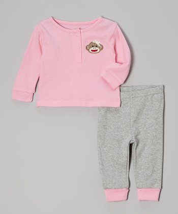 Pink Monkey Henley & Gray Pants - Infant