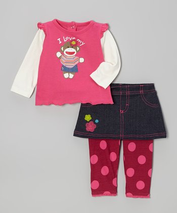 Pink 'I Love Mommy' Layered Tee & Skirted Leggings - Infant