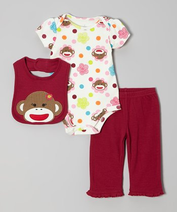 Crimson Monkey Bodysuit Set - Infant