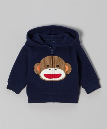 Blue Monkey Zip-Up Hoodie - Infant