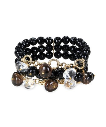 Black Quartz & Yellow Gold Triple Row Stretch Bracelet