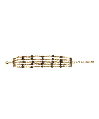 Gold & Brown Jasper Beaded Bracelet