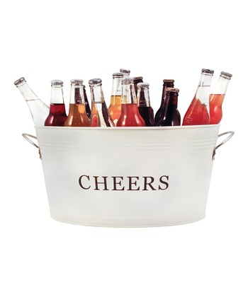 White 'Cheers' Country Home Galvanized Cheers Tub
