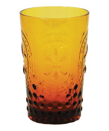 Amber Embossed Tumbler - Set of Four