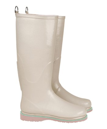 Beige & Mint Rain Boot