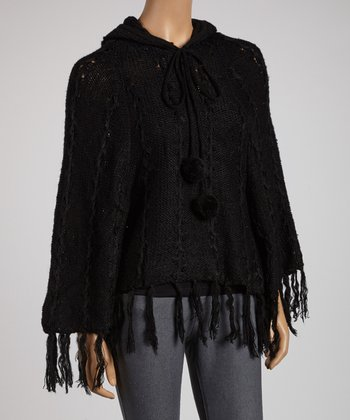 Black Pom-Pom Hooded Poncho