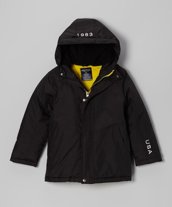 Deep Black Hooded Jacket - Boys