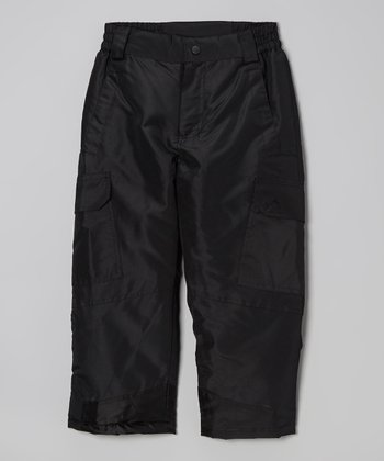 Black Cargo Snow Pants - Boys