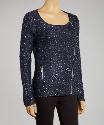 Navy Sequin Asymmetrical Wool-Blend Zip-Up Sweater