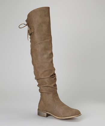 Taupe Lace-Up Olympia Boot