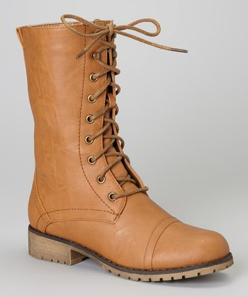 Tan Lug Lace-Up Boot