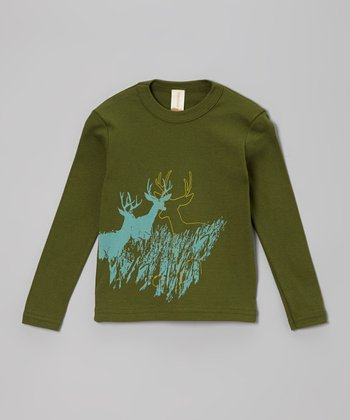 Dark Green Deer Organic Tee - Toddler & Kids