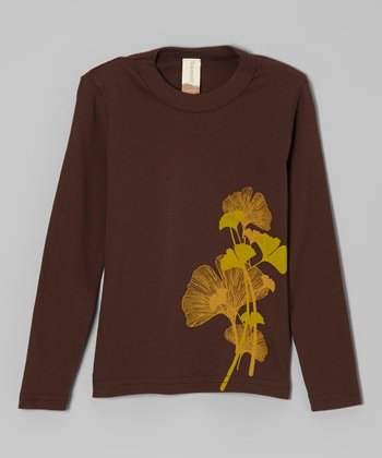 Dark Brown Ginkgo Organic Tee - Toddler & Kids