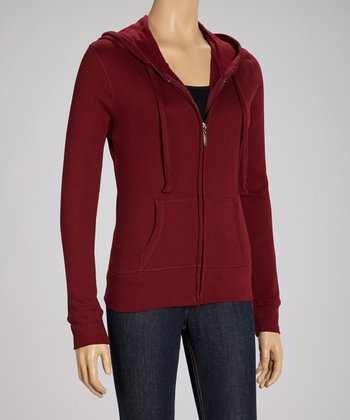 Dark Burgundy Zip-Up Hoodie