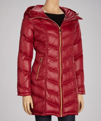 Ruby Red & Gold Zipper Puffer Coat