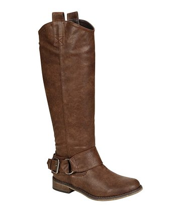 Light Brown Rider Buckle Boot