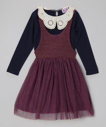 Navy Lace Collar Top & Purple Dress - Toddler & Girls