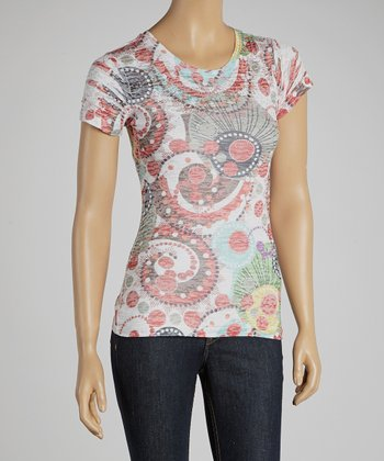 White & Red Paisley & Polka Dot Top