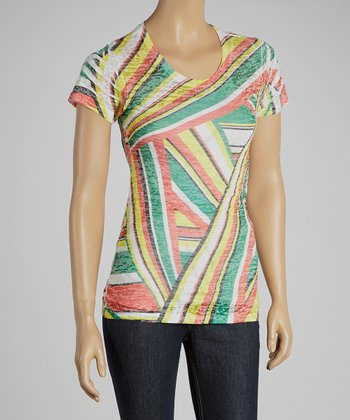 Green & Yellow Stripe Top