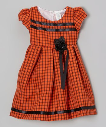 Orange Plaid Rose Dress - Toddler