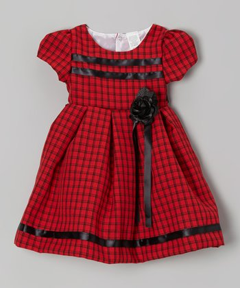 Red Plaid Rose Dress - Toddler