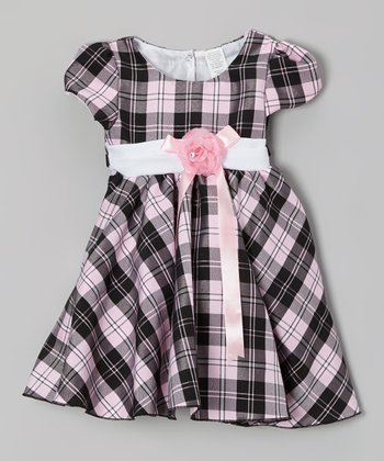 Pink Plaid Blossom Dress - Toddler