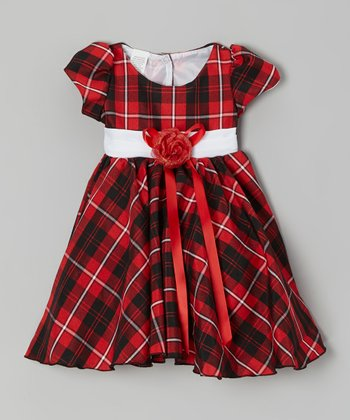 Red Plaid Blossom Dress - Toddler